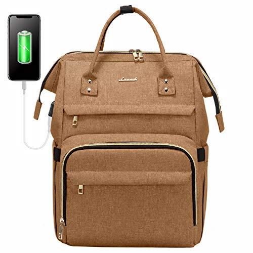 LOVEVOOK Rucksack Damen mit Laptopfach Uni, Wasserdicht Business Backpack Schulrucksack, Stylischer Rucksack mit USB Ladeanschluss, Rechteckig Reischerucksack, Gelb
