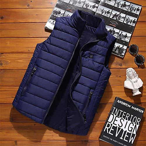 CHNDR verwarmd vest, via USB oplaadbare verwarmingsjack voor vrouwen en mannen, warmte van buik- en rug, voor skiën, outdoor-activiteiten, jacht, kamperen en wandelen, donkerblauw-L