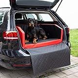 CopcoPet Travel Bed/Hunde-Reisebett aus Kunstleder/Hunde-Autobett/Wasserabweisende Tiermatratze/Hundebett mit Decke als Kratz- und Schmutzschutz (ca. 100 x 90 cm, Rot/Schwarz)