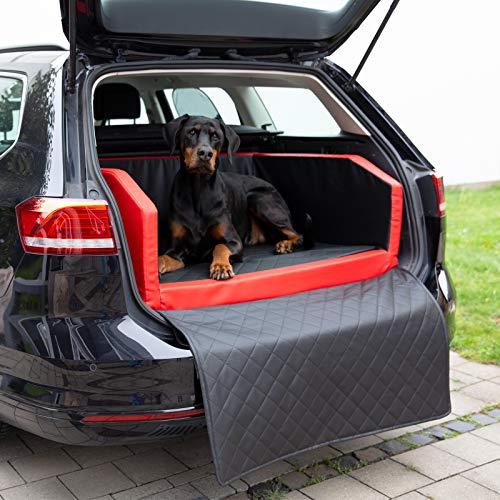 CopcoPet Travel Bed/Hunde-Reisebett aus Kunstleder/Hunde-Autobett/Wasserabweisende Tiermatratze/Hundebett mit Decke als Kratz- und Schmutzschutz (L/XL ca. 100 x 80 cm, Rot/Schwarz)