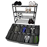 RoomTalks 4-Tier Shoe Rack and 12-Pair Under-Bed Shoe Storage Combo for Season Changes Shoes Organizer, Metal Free Standing Shoe Shelf Shoe Bags for Storage in Closet Bedroom (Black & Grey)