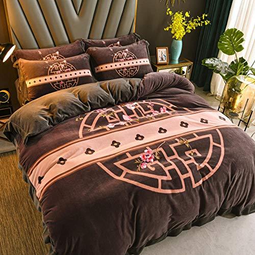 juegos de sábanas de 90-Leche de doble cara gamuza coral ropa de cama de cuatro piezas sábana de franela gruesa de invierno funda de edredón funda de almohada regalo-C_Cama de 1,2 m (3 piezas)