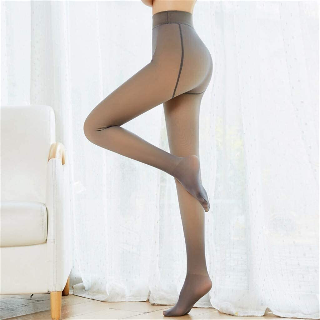 PoJu Fake Translucent Fleece Tights Thermal Tights for Women, Perfect Legs Fake Translucent Pantyhose, Women Winter Suspender Stockings Shapewear Pants (90g / 220g / 320g) (Color : Gray, Size : 90g)