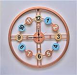 The Indie Quirk - Reloj de pared (55 cm), diseño de números de metal, multicolor