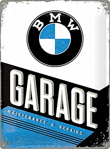 Nostalgic-Art Retro Blechschild BMW – Garage – Geschenk-Idee für Auto Zubehör Fans, aus Metall, Vintage-Design zur Dekoration, 15 x 20 cm