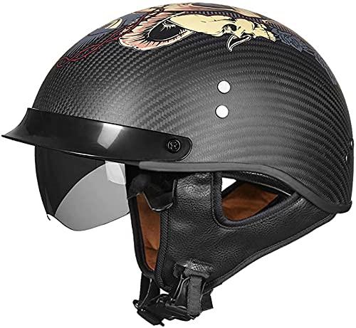 ZLYJ Casco De Cara Abierta Motocicleta Retro Medio Cascos Brain-Cap Aprobación ECE Fibra De Carbono Medio Casco Ligero Piloto Chopper Casco De Pala Transpirable De Verano J,M(55-56cm)