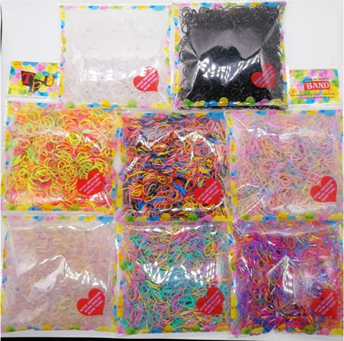 1000 pcs Colorful Elastic Hair TPU Bands ID about 1 cm / 0.394 Inch OD about 1.03 cm / 0.406 Inch (Clear White)