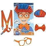 Blippi - Accesorios de juego de roles, perfectos para vestir y jugar - Incluye corbata de lazo naranja icónica, tirantes, sombreros y gafas, para niños pequeños y niños pequeños - Juego de rol