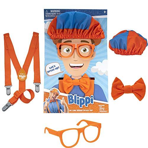 Blippi - Accesorios de juego de roles, perfectos para vestir y jugar - Incluye corbata de lazo naranja icónica, tirantes, sombreros y gafas, para niños pequeños y niños...