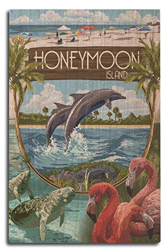 Lantern Press Honeymoon Island, Florida - Montage (10x15 Wood Wall Sign, Wall Decor Ready to Hang)