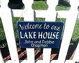 by Unbranded Bienvenido a la casa del lago signo de lago personalizado letrero de apellido para casa de lago casa de playa o cabina letrero de madera colgante personalizado