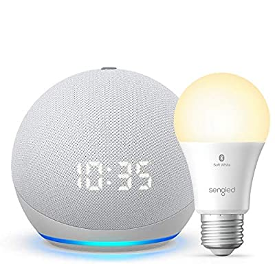 All-new Echo Dot (4th Gen) with clock - Glacier White - bundle with Sengled Bluetooth bulb (Certified for Humans product) from