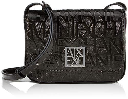 Armani Exchange Shiny Liz - Bolso de hombro para mujer, color negro