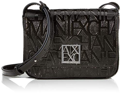 Borsa donna Armani Exchange small shoulder multi Logo pu black