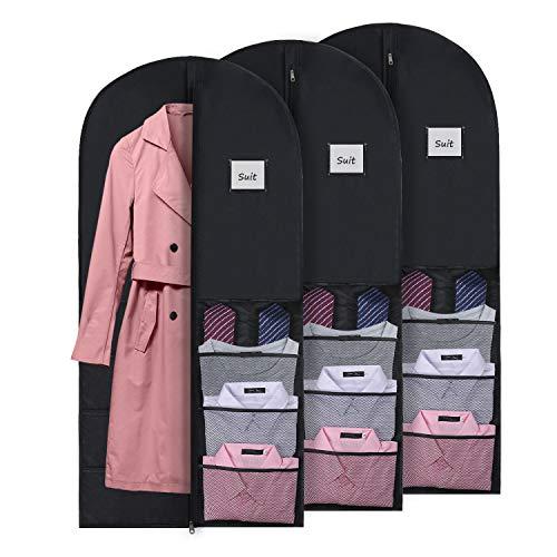 DIMJ Closet Garment Bags, 3 Pack Garment Covers for Travel Lightweight Suit Bag Hanging Dress Bag Breathable Clothing Dustproof Bag with Zipper Mesh Bags for Gowns, Shirt, Belt, Coat, Underwear