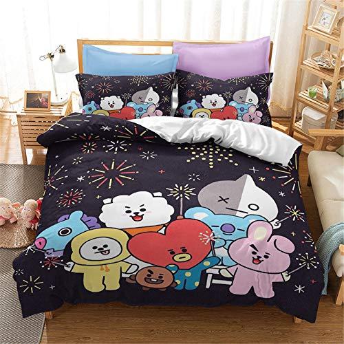 SMNVCKJ BTS Ropa de cama con funda de almohada, 100% microfibra, impresión digital 3D, ropa de cama para niños y adultos (2,individual 140 x 210 cm)