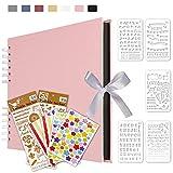 Qisiewell Álbum de fotos rosa álbum de fotos para personalizar, libro de fotos, 80 páginas,...