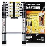 Nestling® Échelle Télescopique 3.2M en Aluminium Bricolage Pliable Extensible Unique Droite Multi-fonction Ladder Charge 330lbs (150 kg)