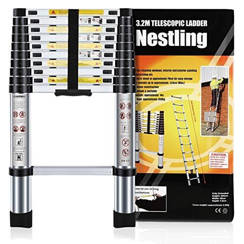 Nestling® Échelle Télescopique 3.2M en Aluminium Bricolage Pliable Extensible Unique Droite...