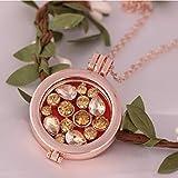 Collar Charm Gold Alloy Box Micro Inset Zircon Mujeres Sweater Chain Difusor De Aceites Esenciales Aroma Mini Colgante Collar De La Joyería