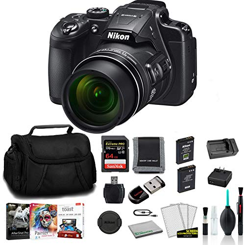 Nikon COOLPIX B700 Point and Shoot Digital Camera 26510-Bundle with 64GB Memory Card + Replacement Battery + Corel Mac Kit + Cruzer Fit 16GB USB Stick and More