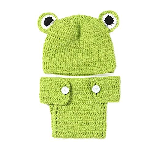 Newborn Fotografia costume del bambino Puntelli Carino rana verde puntelli foto Outfits Crochet lavorato a maglia costume con il cappello