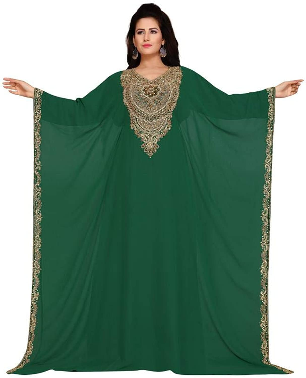 Arabic attire Women's Two Side Open Farasha Neck Embroidered