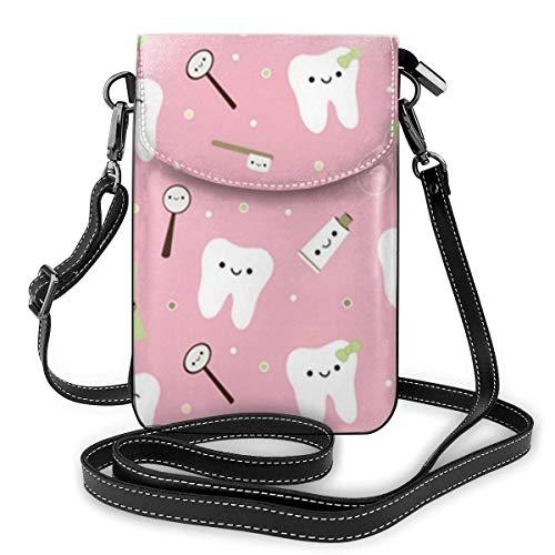 Lsjuee Womens Small Crossbody Handy Geldbörse Brieftasche mit verstellbarem Schultergurt Geräumiger Dackel Hund Blumen Schultertaschen Dental Zähne Zahnpasta Pink