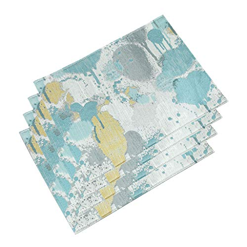 HAOXIANG Heat-Resistant Placemats, Set of 4 Washable Stain Resistant Anti-Skid Polyester Place Mats for Kitchen Dining Table Decoration, 15.7 X 11.8 Inchs,Blue