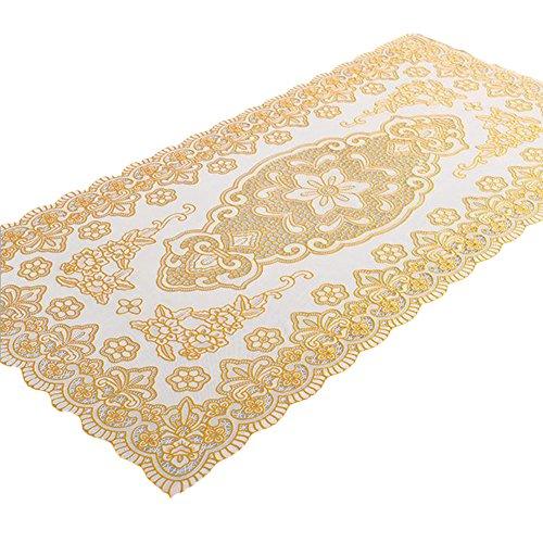 Da.Wa Ameublement Décorations PVC matériel rectangulaire vintage motif floral pad nappe or napperons,60 × 100cm