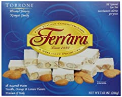 Product of Ferrara, Italy All natural and low fat No artificial colors or preservatives Fashioned in the shape of Torrone Special Italian confectionary