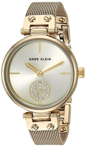 Anne Klein AK/3000CHGB Women's Swarovski Crystal Accented Gold-Tone Mesh Bracelet Watch