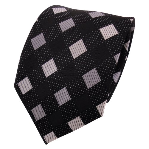 TigerTie diseñador corbata de seda - negro antracita gris plata a cuadros