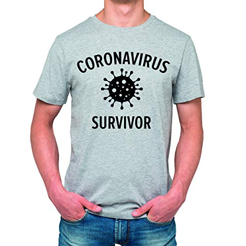 Camiseta Coronavirus Survivor (Gris, L)