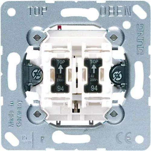 Jung schakelaar & knop dubbele knop 535U5 2 sloten m. verlichting, aluminium