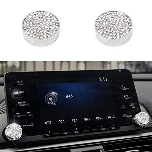 Pursuestar 2Pcs Bling Crystal Navigation Touch Screen Volume Sound Radio Switch Knob Diamond Cover Trim for Honda Accord Sedan Touring Sport EX EX-L LX 10th 2018 2019
