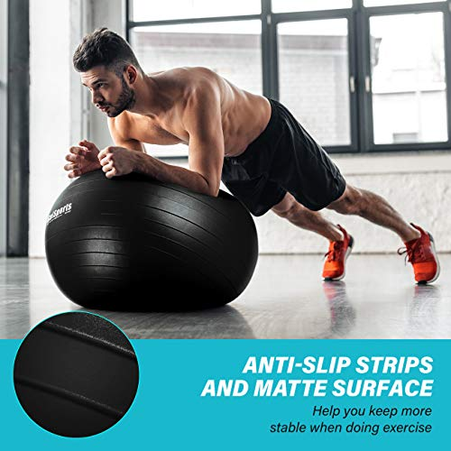 GalSports Exercise Ball (45cm-75cm), Yoga Ball Chair with Quick Pump, Stability Fitness Ball for Birthing & Core Strength Training & Physical Therapy