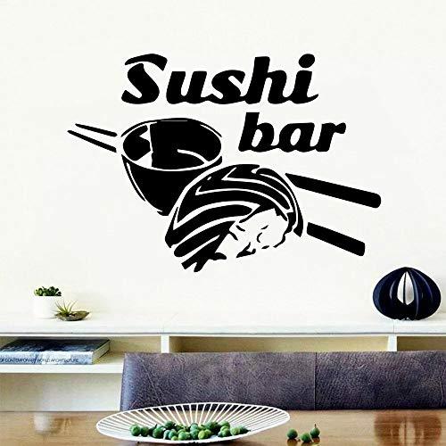 HGFDHG Sushi Vinilo Pared Pegatina Cocina refrigerador Art Deco Palillos arroz Pared Pegatina Restaurante decoración del hogar