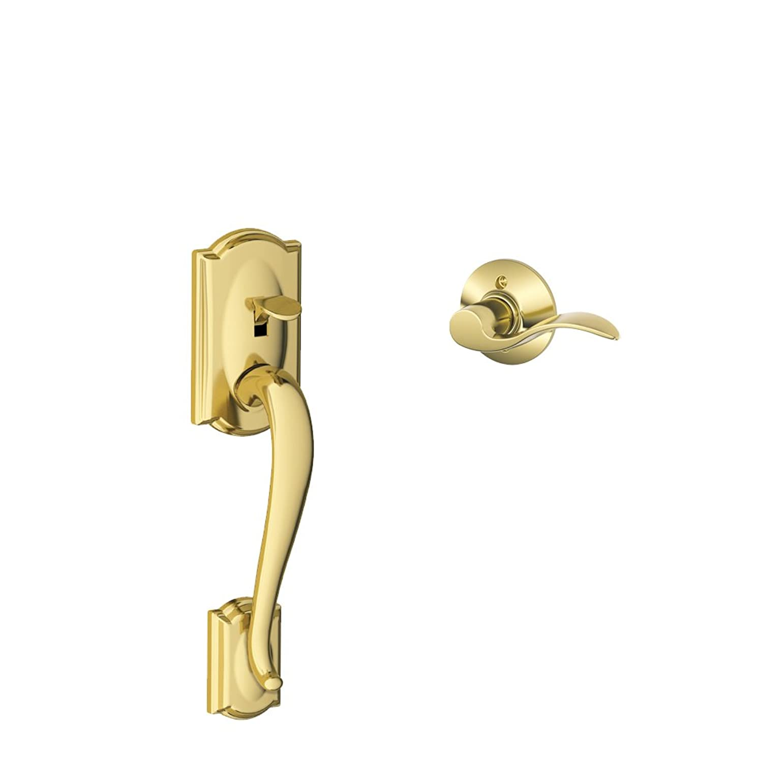 Schlage Lock Company Camelot Front Entry Handle Accent Left-Handed Interior Lever (Bright Brass) FE285 CAM 505 ACC 605 LH