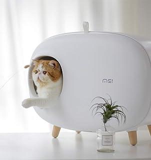 BYGO ネコトイレ 猫用トイレ 脱臭抗菌 スペース広い 掃除簡単 砂の飛び散り防止 軽量 コンパクト (白)