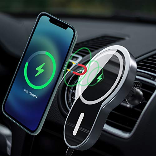 Magnetic Wireless Car Charger,LUKKAHH Aluminum Alloy 15W Car Wireless Charger Compatible with iPhone 12/12Pro/12Pro Max/12 Mini Qi Fast Charging Car Mount Air Vent Phone Holder