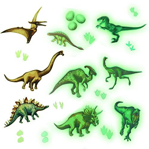 HOWAF Dinosaurier Wandtattoo Kinderzimmer, Leuchtend Wandaufkleber für Junge Wohnzimmer Deko, Dino Wandsticker für Schlafzimmer Babyzimmer Junge Kindertapete Leuchtsticker