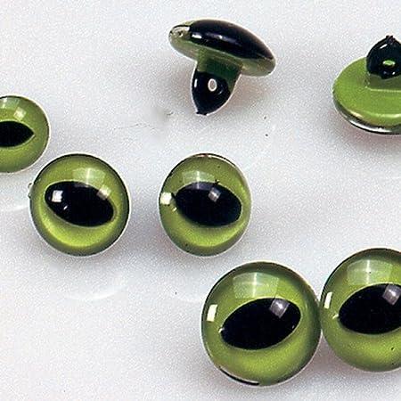 Rayher Yeux de chat à coudre pour peluche et doudou Vert//noir Ø12mm x6