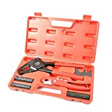 IWISS Combo Angle Head PEX Pipe Crimping Tool Kits for 1/2' & 3/4' Pex Crimp Rings with Go/No-Go Gauge with PEX Pipe Cutter Suits for All US F1807 Standards Copper Rings
