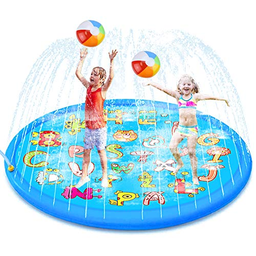 aovowog Water Play Mat Sprinkler Splash Pad,Inflatable Padding Pool Toys for Kids,170cm/68Inch Large Outdoor Toys Garden Toys for Children,Splash Pad Summer Fun Games for Babies and Toddlers