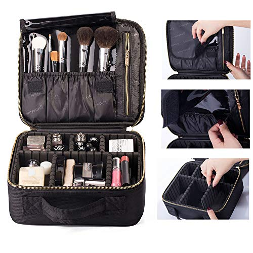 ROWNYEON Makeup Case Kosmetiktasche Make-up Fall Makeup Zug Case Make-up Case Tragbare EVA Make-up Tasche (Black, small)