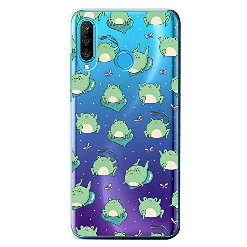 Hülle kompatibel mit Huawei P30 Lite,Handyhülle für Huawei P30 Lite Handy Hülle mit Nettes Tier Muster Transparent Durchsichtig Schutzhülle Stoßfest Kratzfest für Huawei P30 Lite Frosch