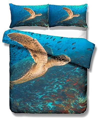 3D Oceano Animal Tortuga Marina Paisaje Patrón Impresión Colorida Funda Nórdica Y Funda de Almohada 50x75 , Juego de Cama Niña Chico Funda Nórdica (Flor 1, 150x200 cm - Cama 90 cm)
