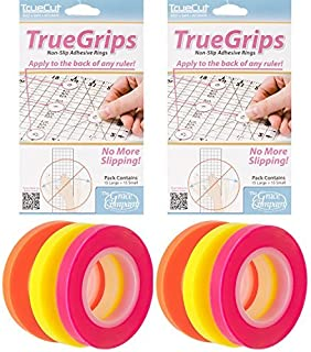 Quilting Ruler Grips and Tape Bundle - 2 Items: TrueCut TrueGrips Non-Slip Ruler Grips (60 Pieces) Bundled with Omnigrid Glow-Line Tape 2102 (6 Rolls of Tape)