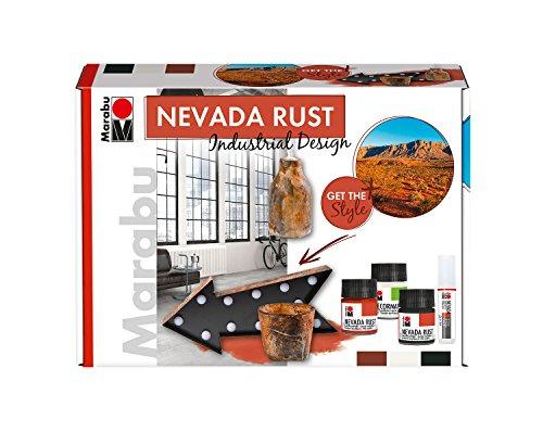 Marabu 1271000000080 - Acryl Rosteffektfarbe im Set, Nevada Rust Industrial Design, auf Wasserbasis, lichtecht, wetterfest, schnell trocknend, 3 x 50 ml Farbe, Liner, Schwamm und Pinsel